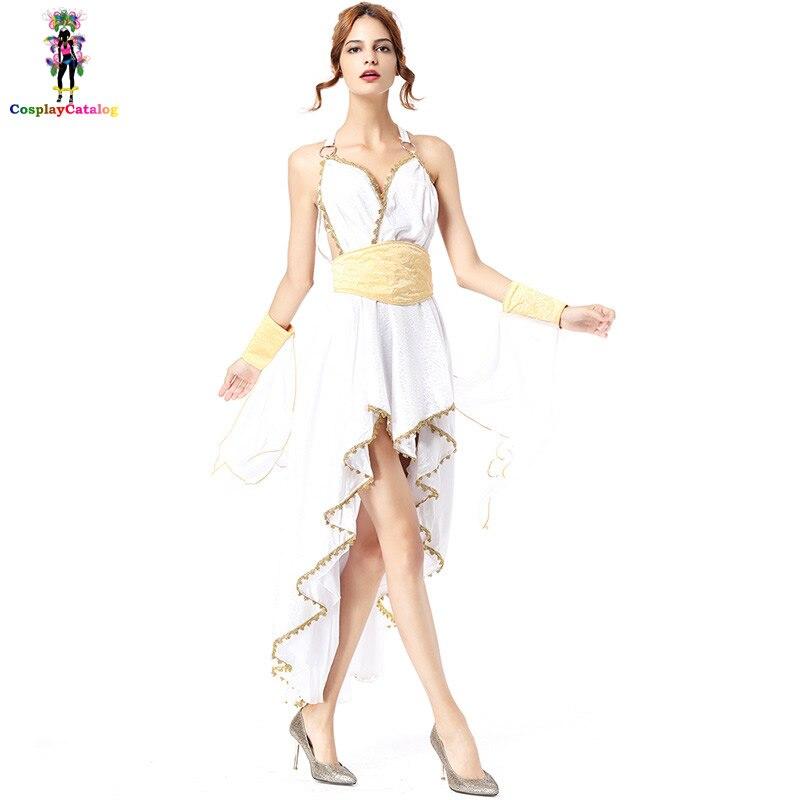 Luxo branco deusa grega traje adulto trajes de halloween feminino longo com uma alta baixa hemline em camadas vestidos irregulares