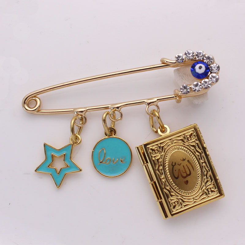 muslim Quran book brooch islam Turkish evil eye baby pin