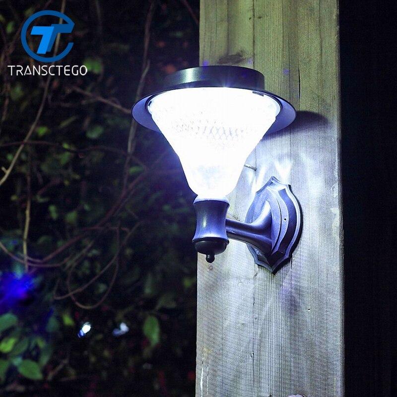 TRANSCTEGO 24 светодиодных солнечных батарей, садовая настенная лампа, уличный водонепроницаемый супер яркий садовый светильник