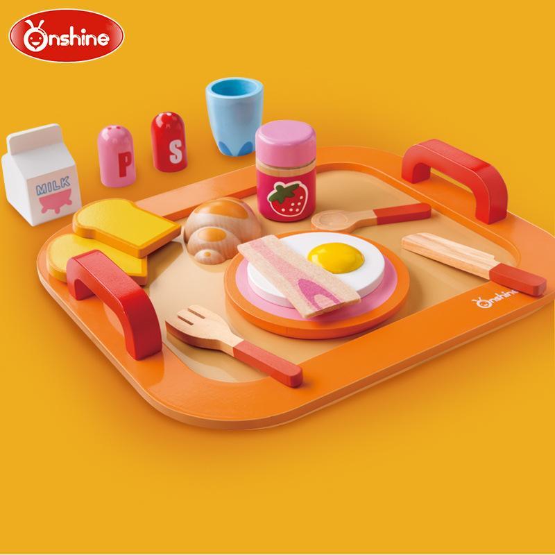 Juguetes de madera de la casa de muñecas de la cocina del desayuno de los niños de la marca Onshine/juegos de simulación de la muñeca de los niños para los juguetes para regalo de cumpleaños, Envío Gratis