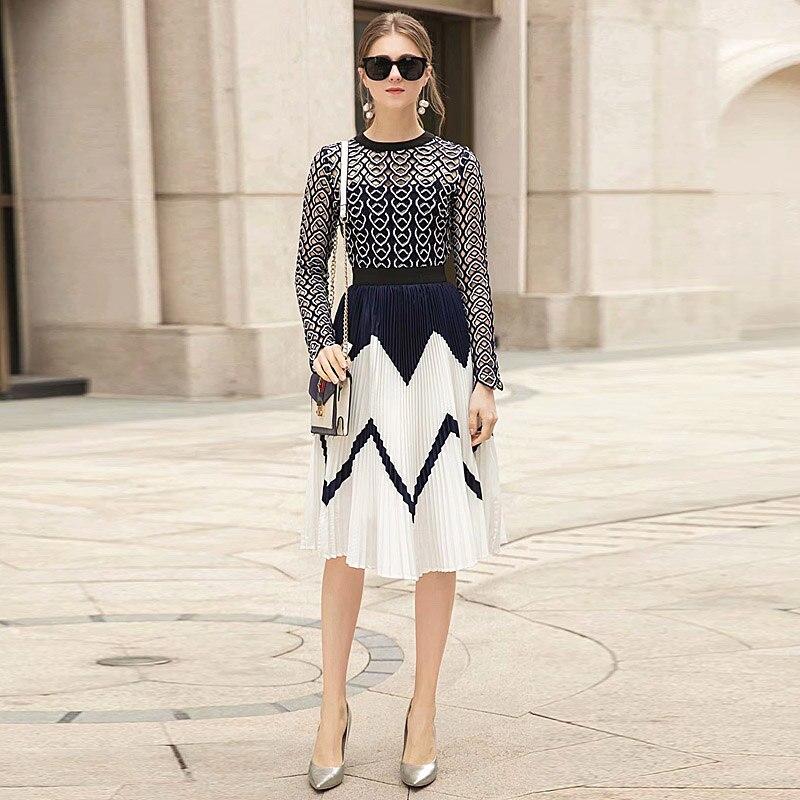 Плиссированная полая подиумная дизайнерская Высококачественная новая женская мода, вечерние сексуальные винтажные элегантные кружевные платья с длинным рукавом