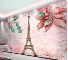 Papier peint fleurs tour Eiffel 3d personnalisé   Papier peint mural, motif de fleurs, pour la chambre