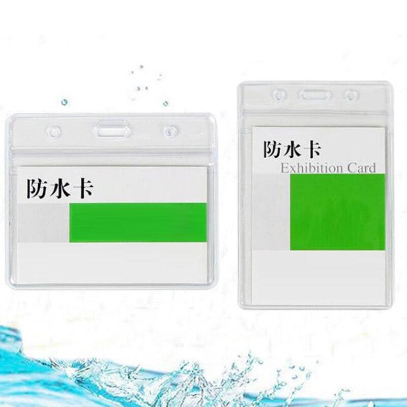 10Pcs lanyards id badge holder id badge holder horizontal badge holder transparent office supplies id badge reel clip