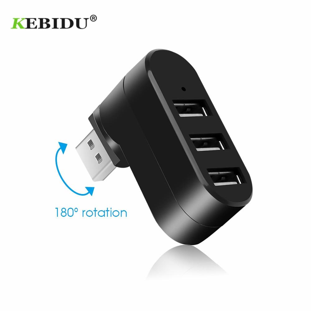 Kebidu 3 Ports USB Hubs USB 2,0 Mini Drehen Splitter Adapter Hub für PC Notebook Laptop usb 2.0 splitter