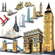 WanGe stadt 2019 kompatibel lego Architektur Taj Mahal London Paris town bridge bausteine kinder montieren ziegel spielzeug