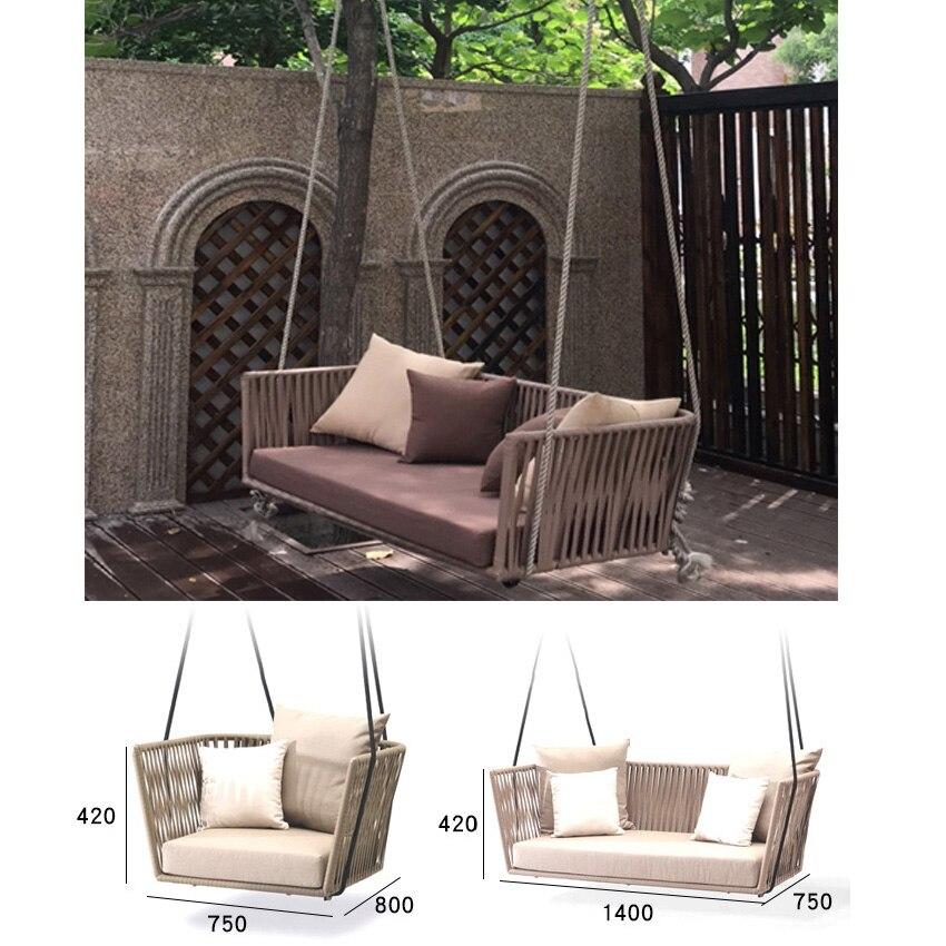 Silla de sofá oscilante de moda, silla mecedora de ratán para adultos de interior, silla columpio para patio individual doble, muebles de interior