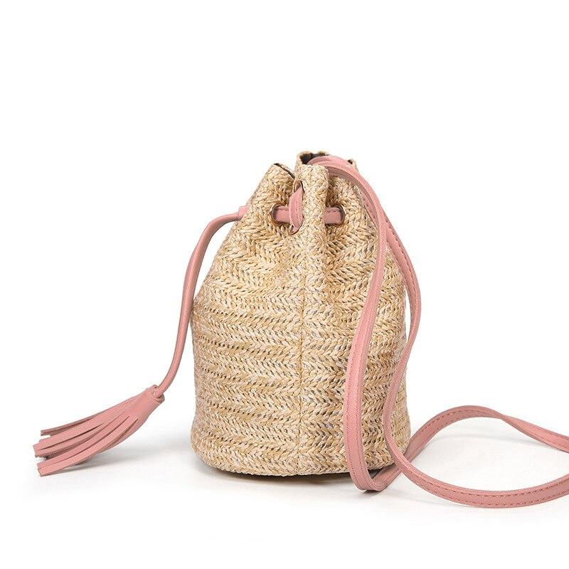 Bolso tipo Bombonera de paja tejido para verano, bolso de mano con flecos, bolso bohemio, bolsa rosa