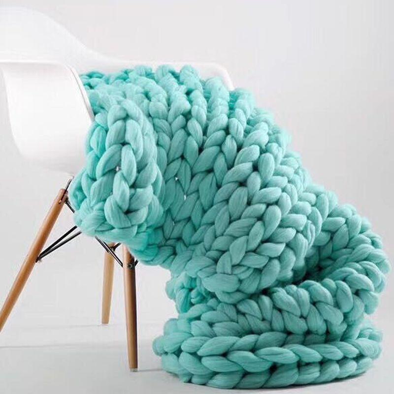100x180 см модное ручное толстое шерстяное вязаное одеяло плотная пряжа мериносовая шерсть громоздкое Вязание пледы одеяло толстое вязаное од...