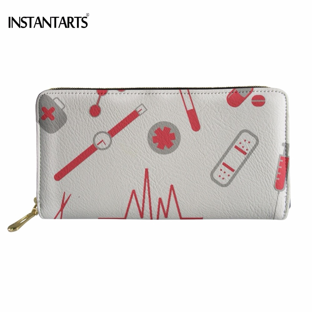 INSTANTARTS Fashion Nurse Heartbeat Pattern Girls Long PU Leather Wallet Brand Design Zipper Purse Woman Large Cash Coin Bags