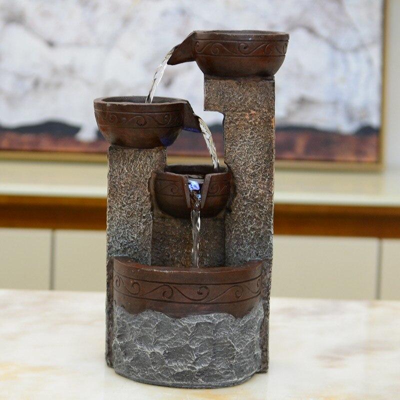 Brunnen Feng Shui Wasserlandschaft Dekorative Harz Handwerk Glück-kommen Luft Zu Reinigen Wasser Brunnen