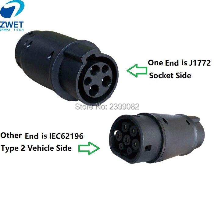 Zwet J1772 Ev Adapter Socket 32A Elektrische Voertuig Auto Ev Lader Connector Type 1 En Type2 Elektrische Voertuig Opladen Adapte