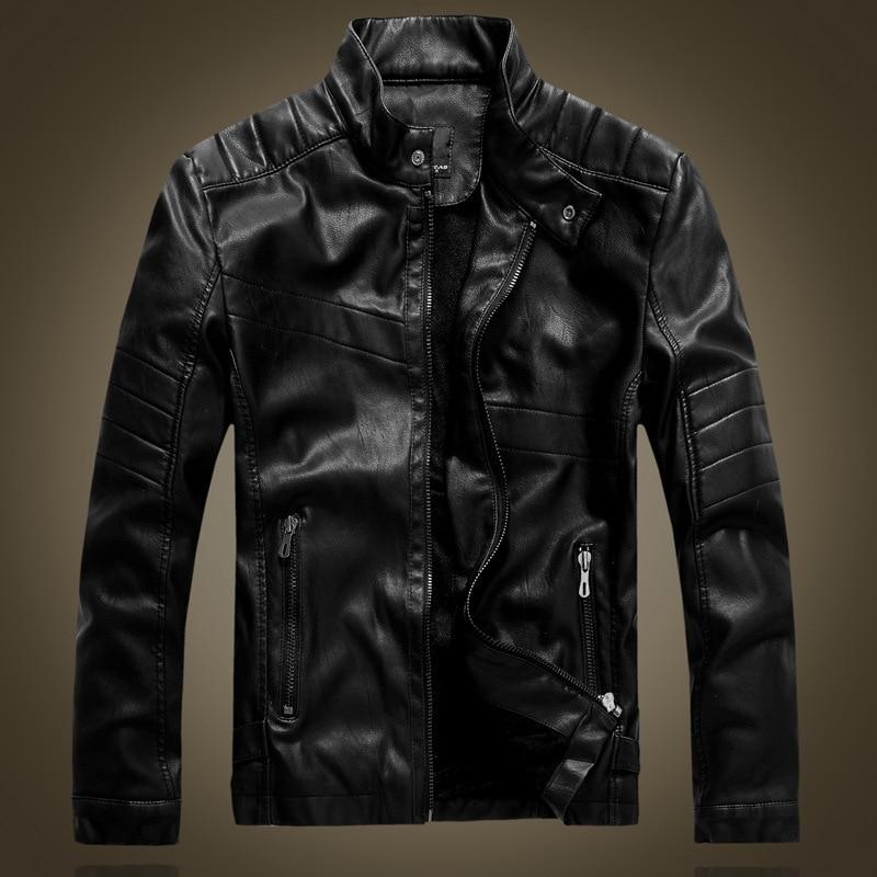 Chaquetas De Piel De Estilo Vintage para Hombre, cuello levantado, forro De terciopelo, ajustadas, para motociclista