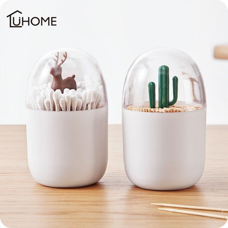 Оригинальная Подставка Для Зубочисток в виде дерева с животными, ватная палочка, держатель в форме бутона, чехол для домашнего стола, пластиковый органайзер для хранения