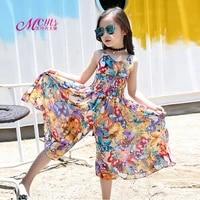 girls dresses 2021 summer floral beach princess dress bohemian style sleeveless dress for girls costumes 4 6 8 10 12 14 15 years