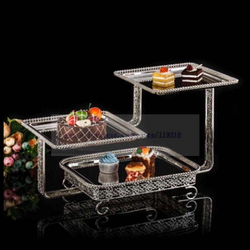 1 قطعة رف وجبة خفيفة إبداعي ثلاثي الطبقات مطلي بالفضة طبق كيك متعدد الطبقات مربع رف حلويات متعدد الطبقات رف بوفيه