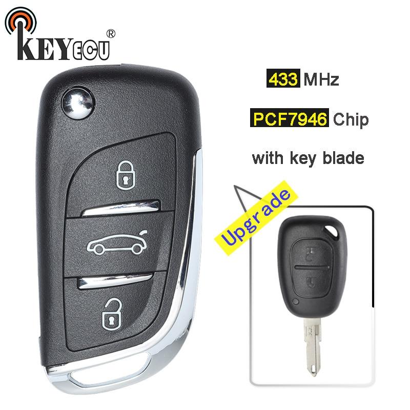KEYECU 433MHz PCF7946 Chip 3 Button Updraded Flip Remote Car Key Fob for Renault Kango Vivaro Movano Primestar Master traffic