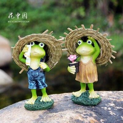 Sombrero de paja, Rana para decoración de jardín, balcón, patio, decoración, artesanía de resina, casa hortícola creativa