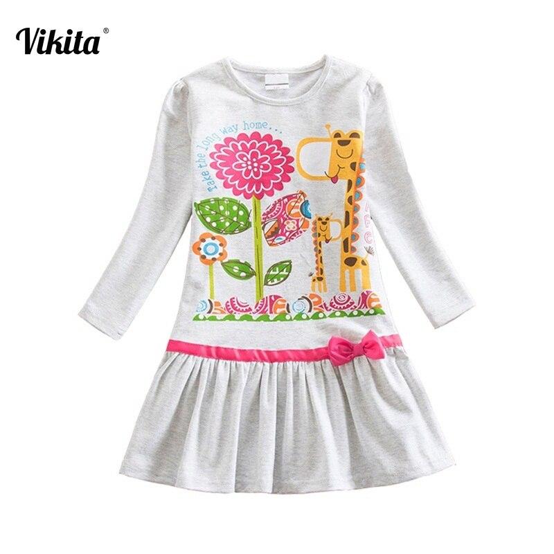 Nueva llegada de VIKITA Vestidos para niñas Vestidos de manga larga estampados de dibujos animados Vestidos infantiles ropa para niños LD6661