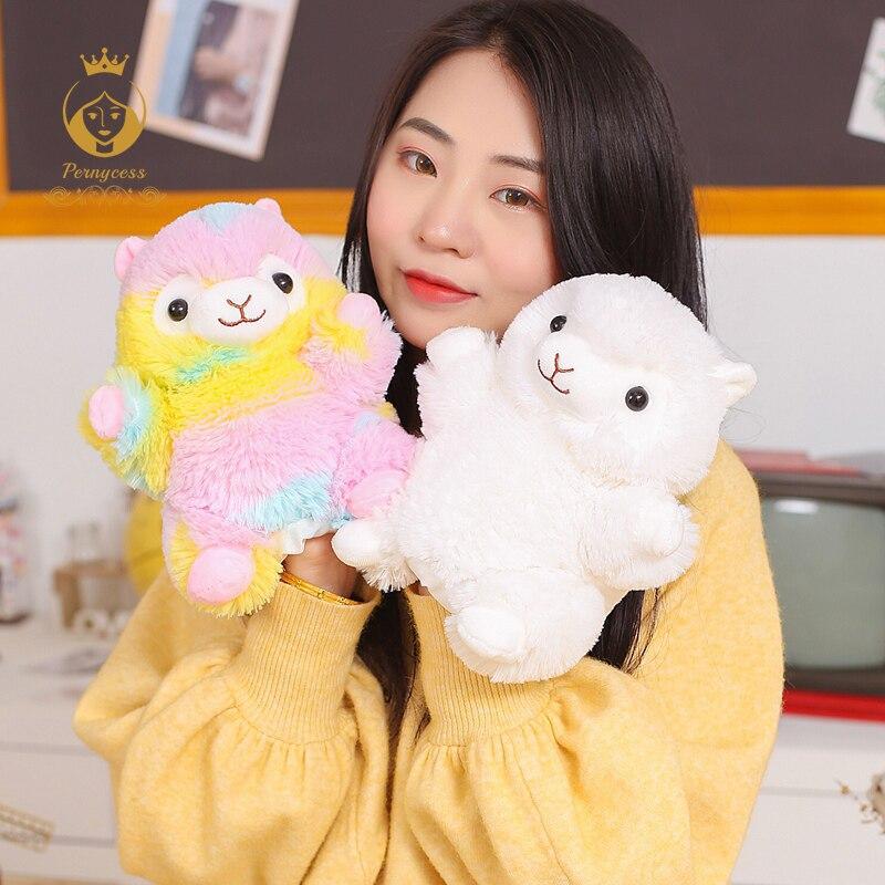 1 PCS 20 centímetros mini brinquedo de pelúcia alpaca, kawaii rainbow alpaca fantoche de mão, pai-filho criança educação infantil, presente das crianças