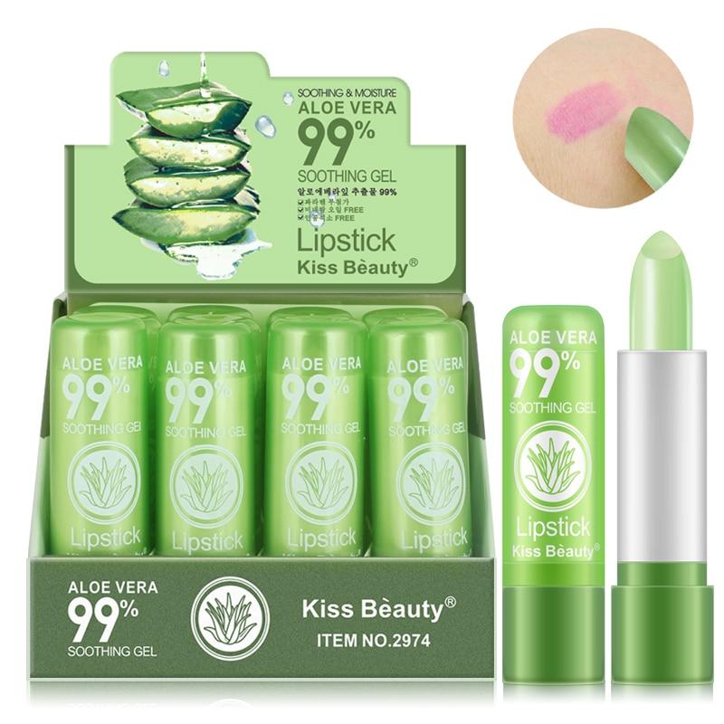 1PC Moisture Lip Balm Long-Lasting Natural 99% Aloe Vera Lipstick Color Mood Changing Long Lasting Moisturizing Lipstick TSLM1