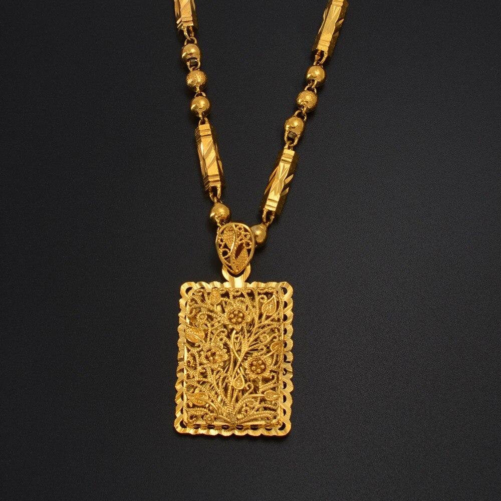 Anniyo retângulo flor pingente colares para mulher masculino jóias marshall micronesiab havaí presente mãe esposa #169606g