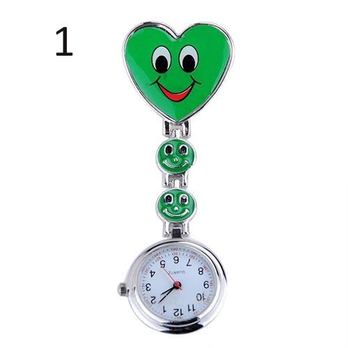 Broche relógio de bolso smiley enfermeira relógio bonito rosto sorridente coração clip-on pingente enfermeira fob broche relógio de bolso coração pend