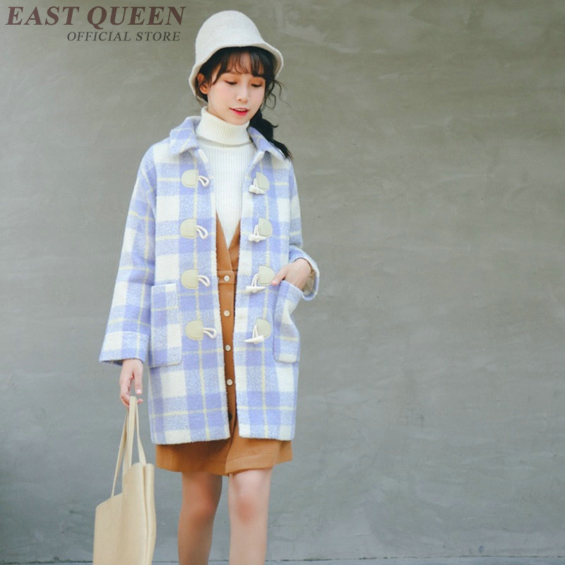 Female trench coat in autumn and winter preppy style full sleeve women plaid coats square collar horn button overcoat DD418 F
