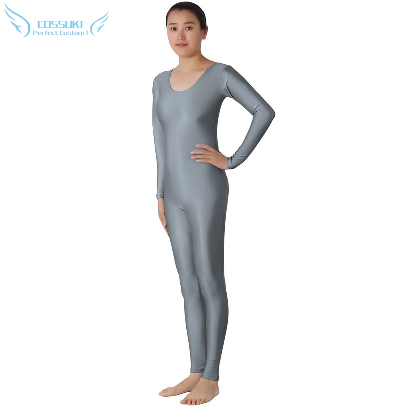 Traje de LICRA gris sin cabeza, mono ajustado de cuerpo entero de LICRA Zentai, traje de baile, traje para mujer