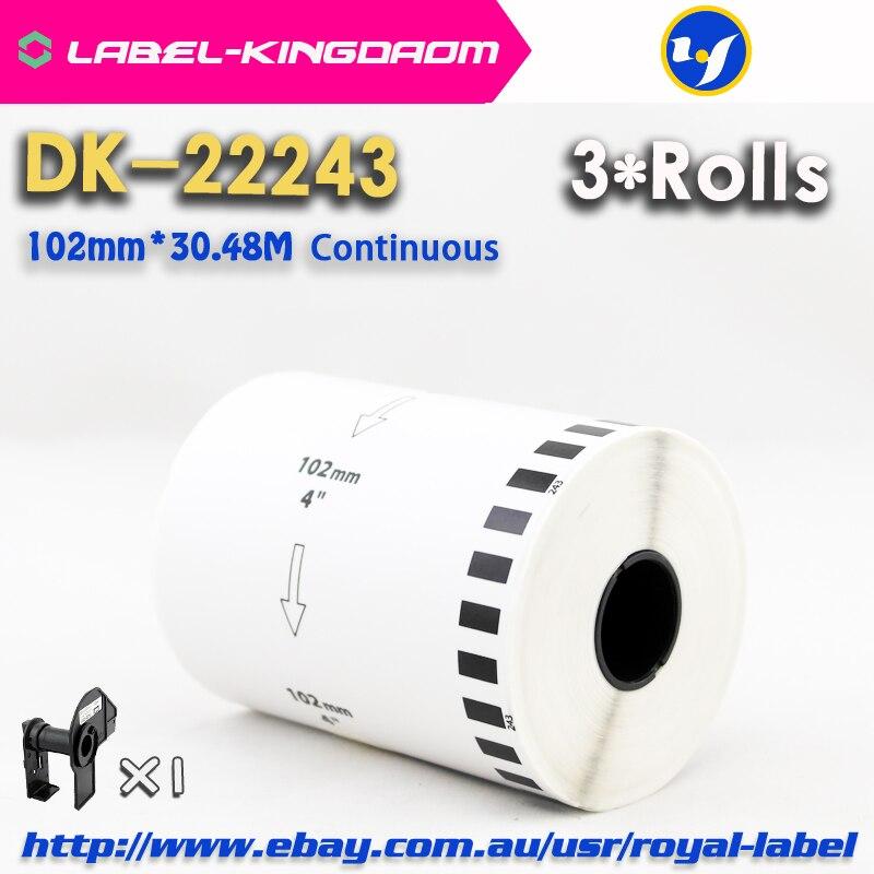 3 recarga Compatible con rodillos DK-22243 etiqueta 102mm * 30,48 M continuo Compatible para impresora de etiquetas Brother QL-1060 papel blanco DK2243
