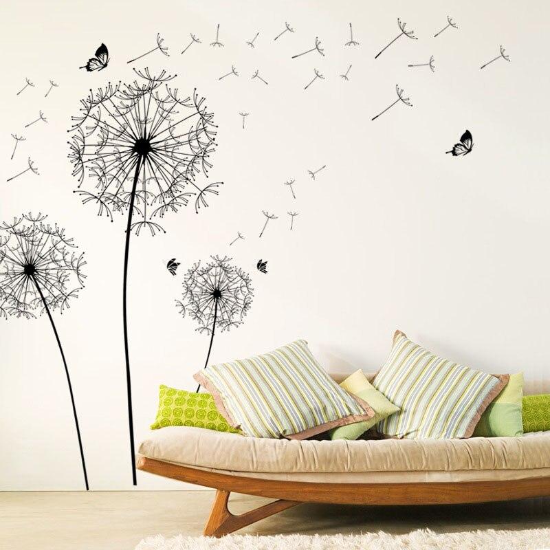 [ZOOYOO] pegatinas de pared de flores de diente de león Negro Grande, decoración del hogar, sala de estar, dormitorio, muebles, calcomanías artísticas, murales de mariposa