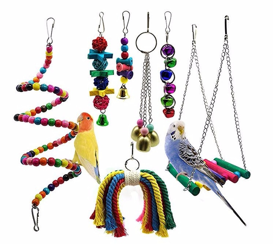 7PCS Kombination Papagei Spielzeug Vogel Artikel Papagei Biss Spielzeug Vogel Spielzeug