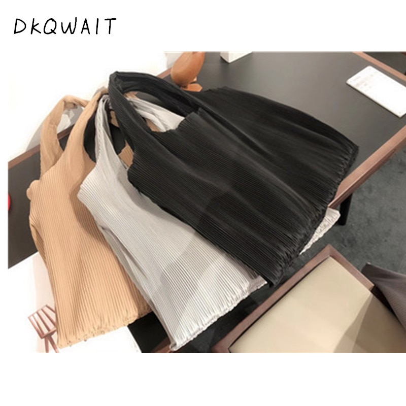 HOT New Black Color Knitting Double Straps Spliced Pleated High Capacity Causal Tote Shoulder Bag Handbag All Match
