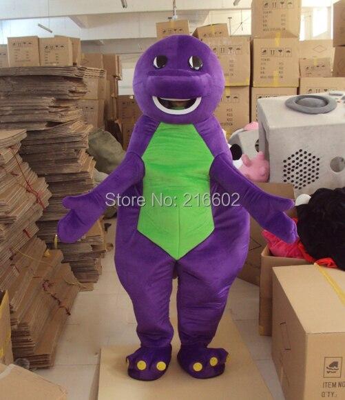 Disfraces Cosplay púrpura Barney dinosaurio de dibujos animados trajes de la mascota Halloween fiesta de disfraces traje envío gratis