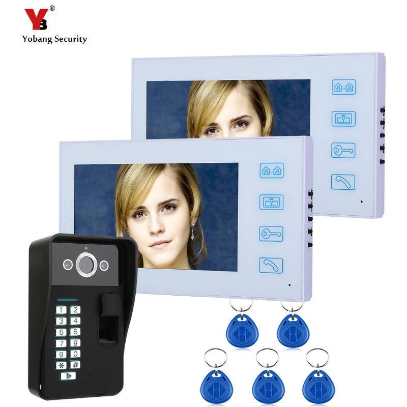 "Yobang seguridad RFID contraseña desbloqueo 7 ""Audio intercomunicador TFT LCD cable Video puerta teléfono Visual hogar Video intercomunicador"