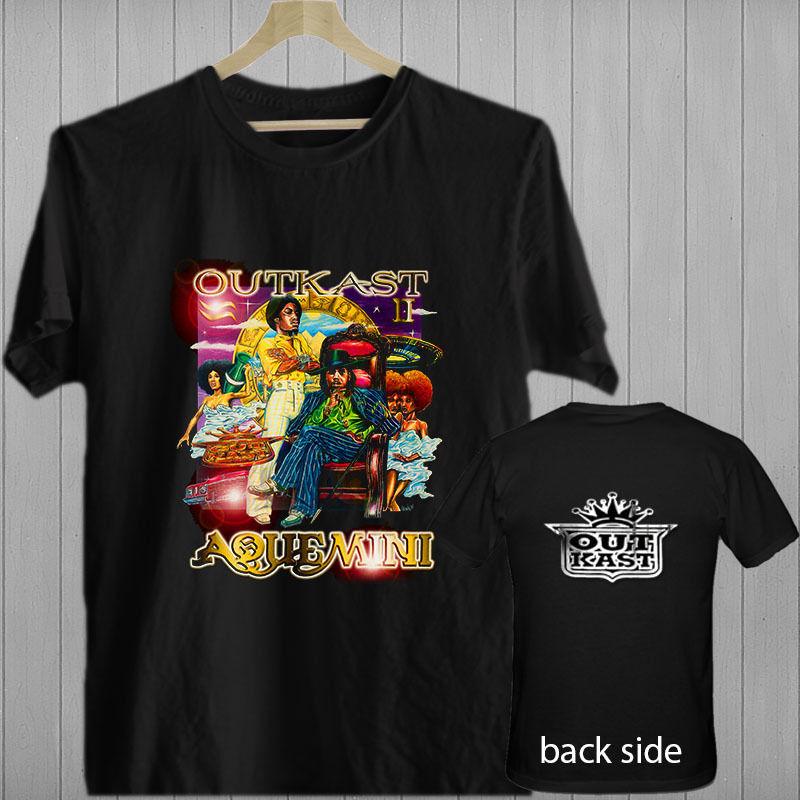 Outkast Aquemini Rap Hip Hop Music songs album black t-shirt shirts tee XS-3XL Print T  shirt  Summer  Short