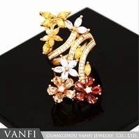 new style statement rings micro paved aaa zircon stone flower wedding engagement finger rings gifts for women