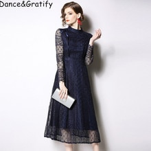 Grande taille S-3XL haute qualité solide dentelle Crochet mince Vintage robe nouveau 2019 printemps élégant femmes décontracté longues mi-mollet robes