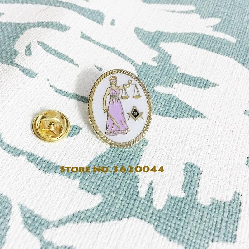 50pcs Law Lapel Pin Oval Shape God with Sword Masonic Free Masons Custom Enamel Brooch Freemasonry Square Compass Lawyer Pins