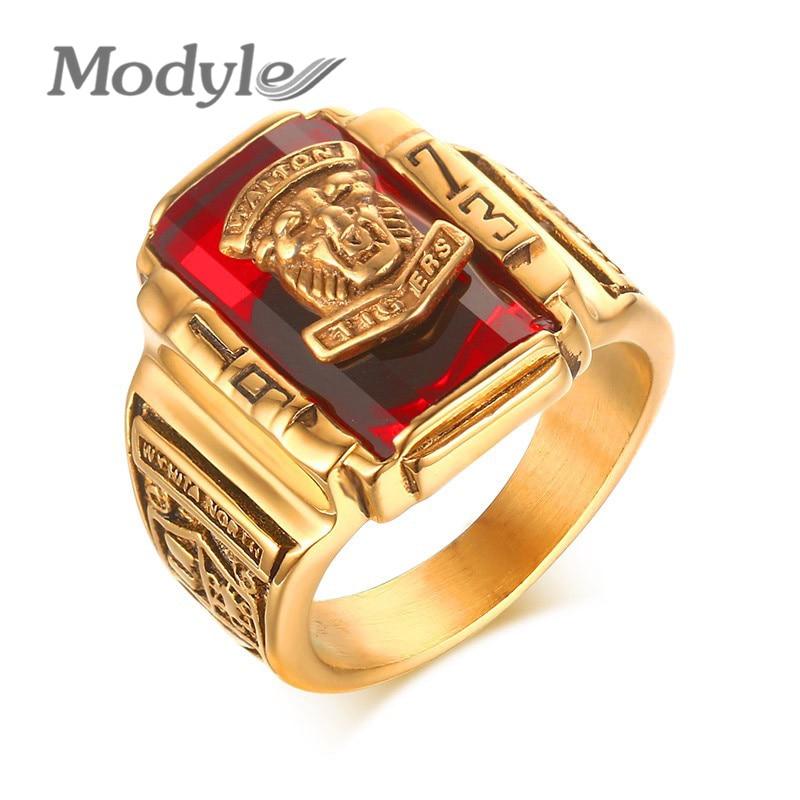 Modestilo anéis de pedra vermelha, joias masculinas legais de ouro e cor grande, joias para festa, novo estilo gótico anéis de anéis
