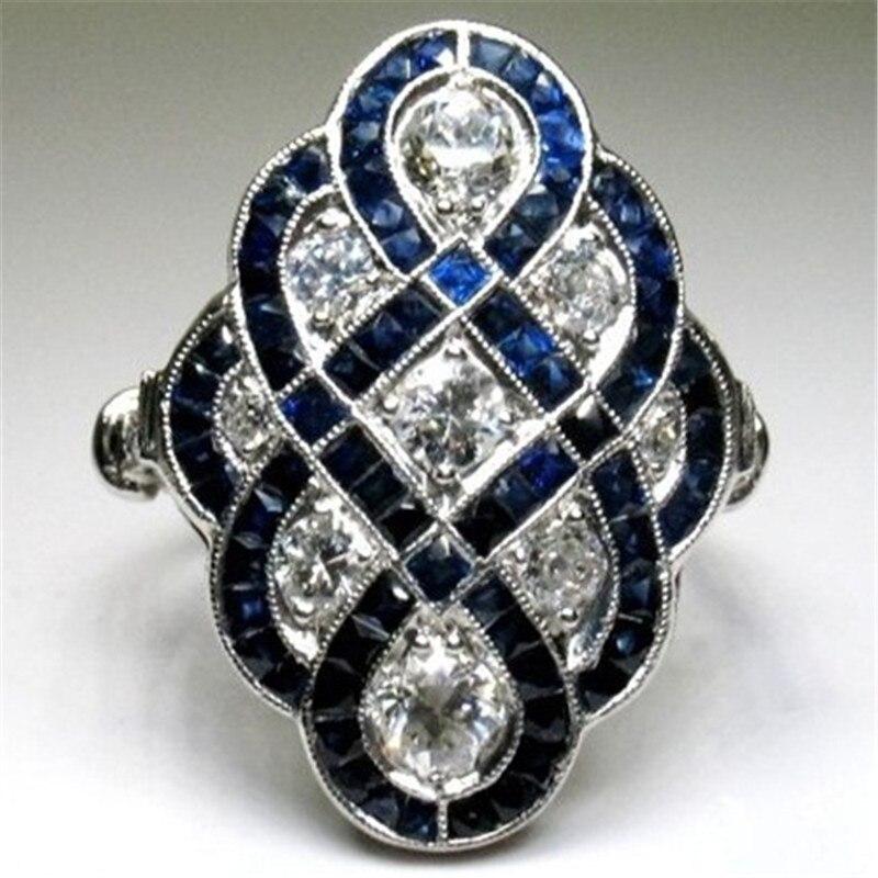 Anillos clásicos de cristal blanco para mujer, joyería de lujo, anillo de compromiso azul, anillo Chaem para hombre, anillo para mujer, venta al por mayor S4T572