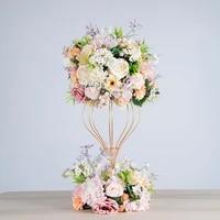 artificial flower ball hydrangea rose wreath wedding decorative iron stand frame party road lead decoration peony silk flower