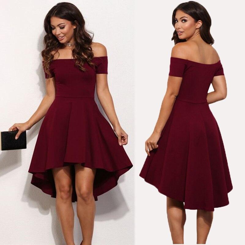 2019 Spring Fashion New Bohemian Short Sleeve Solid Color Knee-length Dress Woman Sexy A-Line Shoulder Slash Beach Dresses   -68