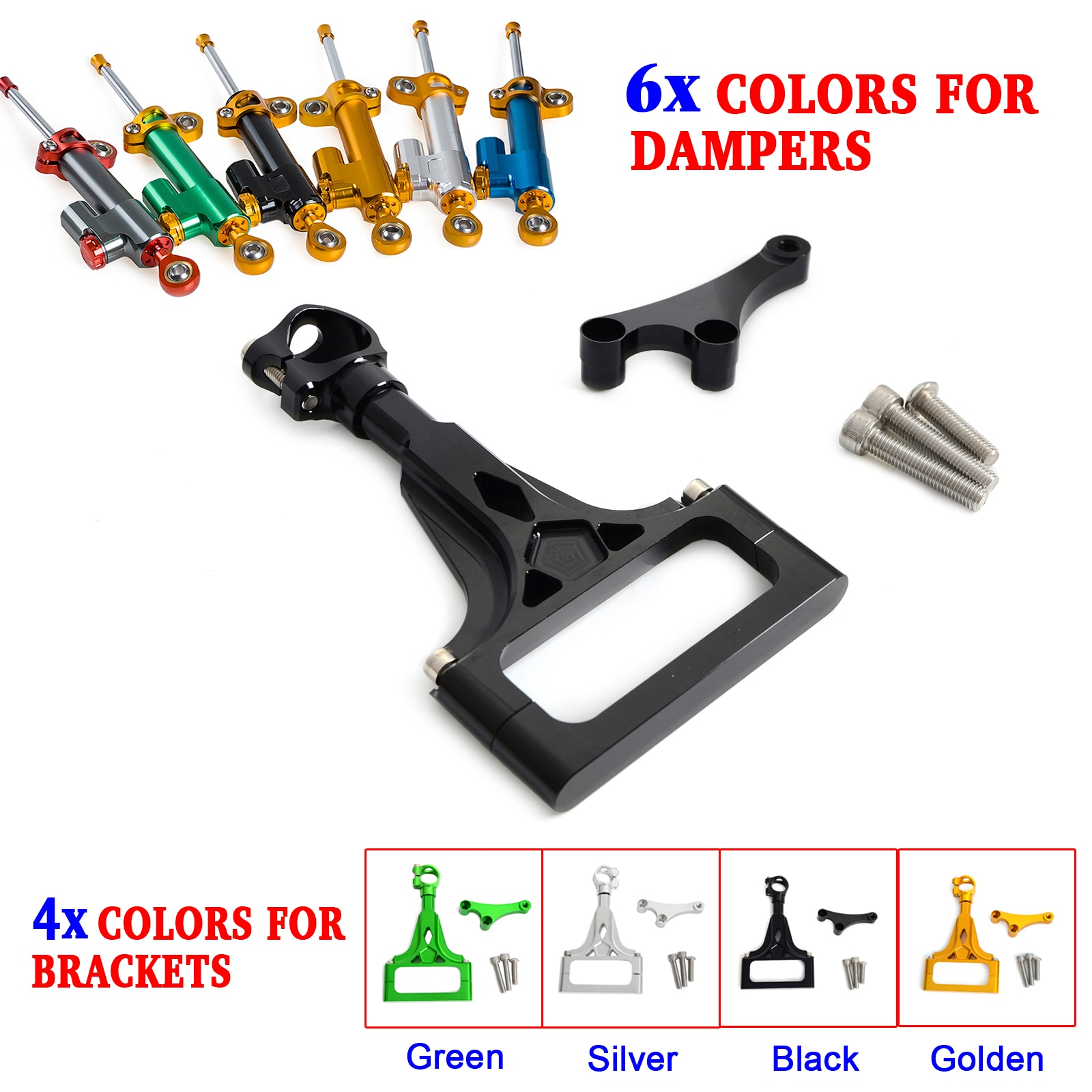 Motorcycle CNC Steering Damper Stabilizer & Bracket Mounting Kit for Kawasaki Z750 2003-2012 Z750R 2011 2012 Z1000 2003-2009