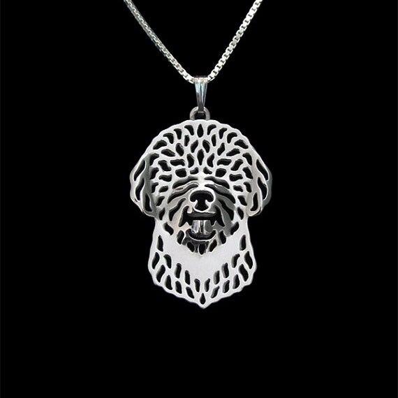 Lagotto Romagnolo-Ouro e prata pingente e colar de jóias Simples abstrato animal free ship 12 pçs/lote