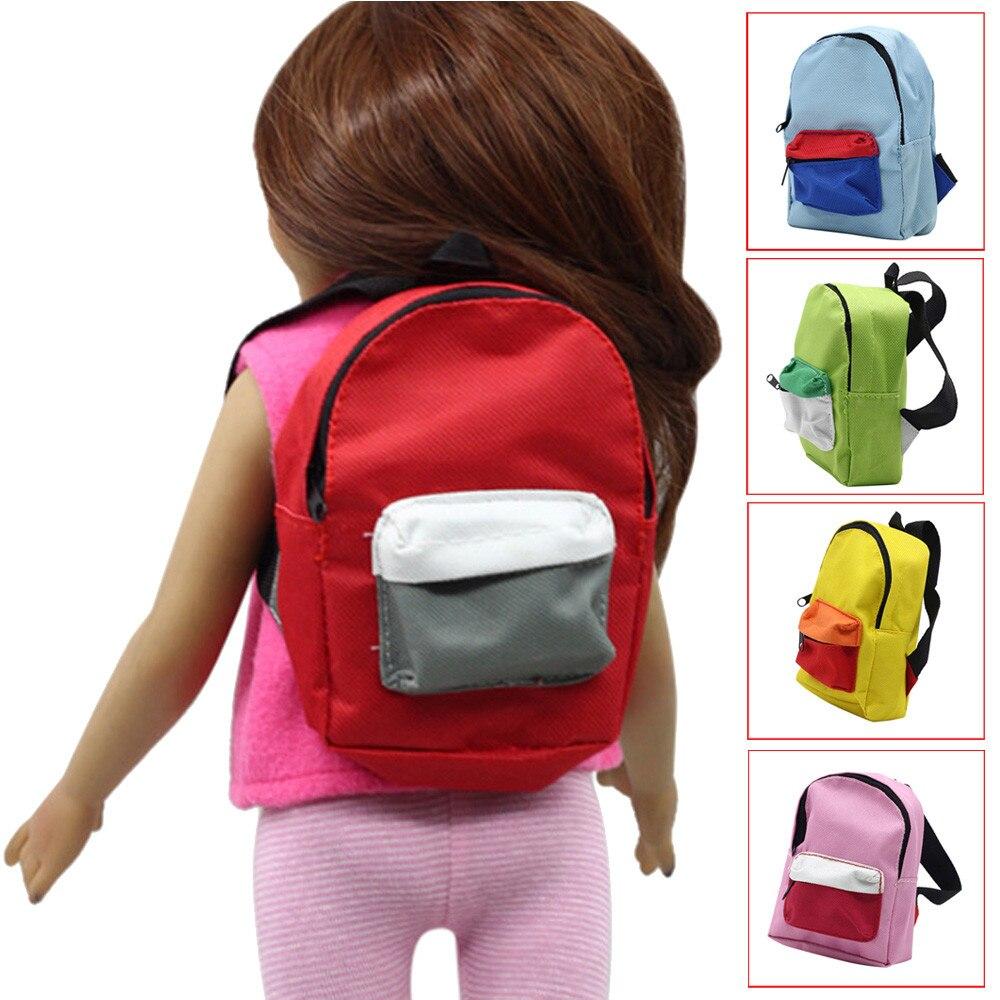 Детские кукольные аксессуары, милый мини модный рюкзак на молнии, школьный ранец для 18 дюймов, кукла нашего поколения для девочек