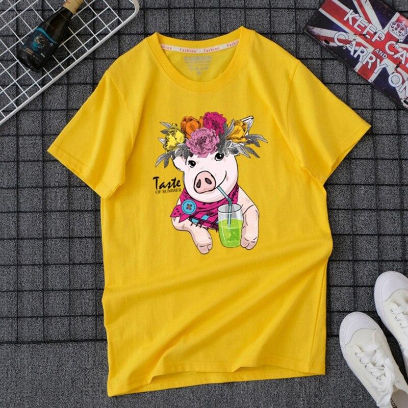 Футболка из хлопка Ulzzang, женская футболка большого размера, женская футболка с коротким рукавом, футболки, топы Harajuku, мультяшная свинка, топы с принтом
