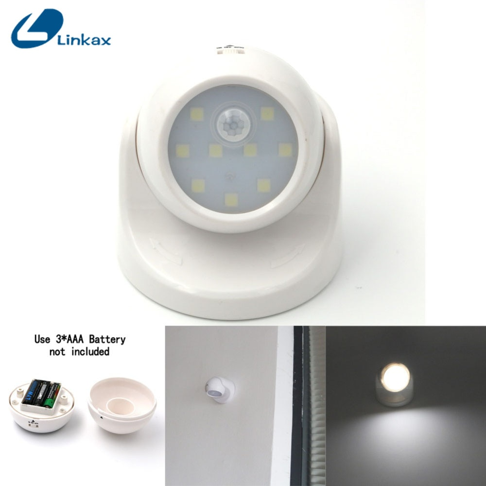9 LED de seguridad, Sensor de movimiento Led, luz de pared nocturna, rotación de 360 grados, lámpara de Detector infrarrojo IR PIR automático, luz nocturna para niños