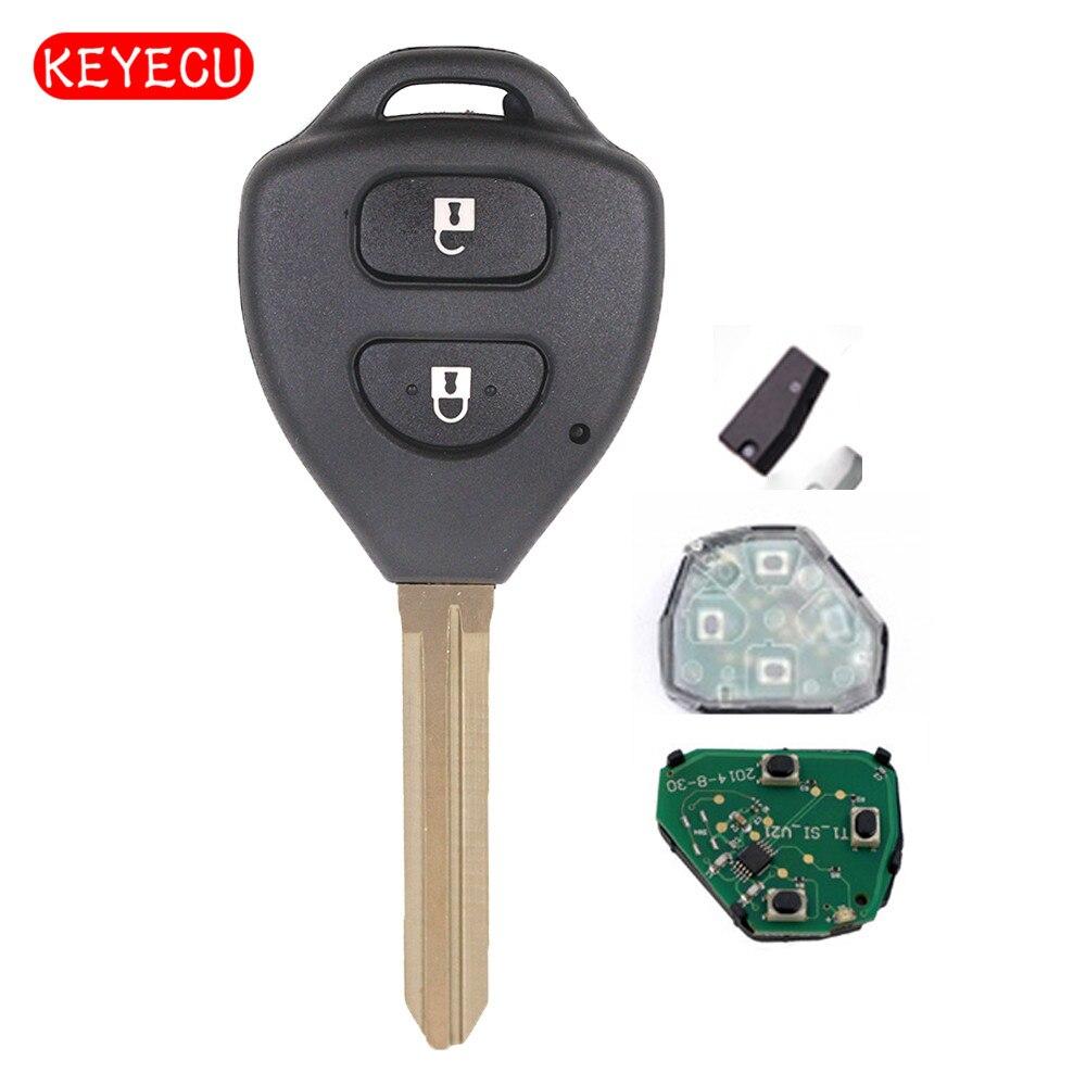 Tecla remota Keyecu 2 botones 433MHz 4D67 Chip para Toyota Hilux 2004-2008 FCC ID B41TA programación gratuita