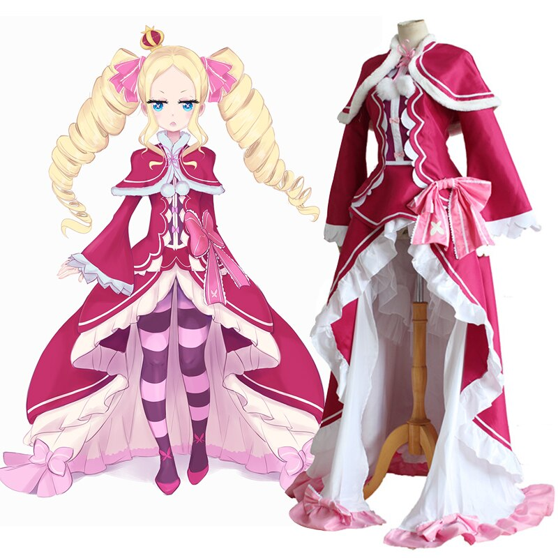 Re Zero Kara Hajimeru Isekai Seikatsu Beatrice Re La vida en un mundo diferente de Zero Cosplay vestido de fiesta de Halloween con capa