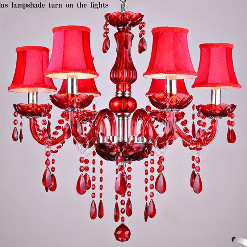 Lámpara de araña de cristal rojo, lámparas de cristal, lustres de cristal,...